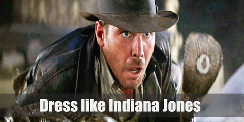Indiana Jones costume is a beige button-down shirt, a pair of brown pants, a brown leather jacket, and black boots. He also brings a whip or sometimes a machete.