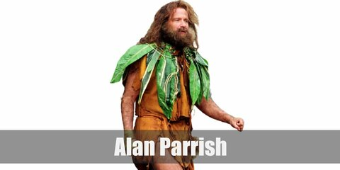Alan Parrish's costume is a brown caveman vest, a poncho and a hat made from leaves, brown shoes, and green bandages. Alan's been stuck inside Jumanji for years.
