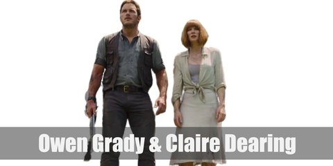 Owen Grady costume is a brown leather vest jacket on a blue rolled-up sleeve shirt with dark pants and brown leather boots match the vest. Claire Dearing's costume is a lilac tank top, a white button-down shirt, a white midi skirt, and a short, auburn wig.