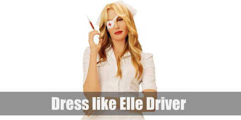 Elle Driver likes to wear a tight black suit, but that's not her most iconic look. That is when she dressed up in a white nurse outfit, white shoes, a nurse's hat on her head, and a white eyepatch on her blind eye.