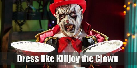 Killjoy loves dressing up in unconventional styles and clashing colors. He has chalk white face and a big, happy smile drawn on his face.