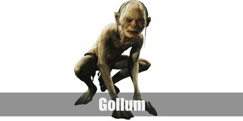 Gollum's costume is a nude bodysuit, a mask, a brown loincloth, big feet, and the One Ring.