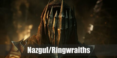 A Nazgul's costume is a long black hooded robe. Their arms are blackened, their faces (rarely seen) are deathly pale and sunken, and they are usually armed with a long sword.