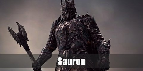 Sauron's costume is a personalized armor from head to toe. It is spiky and gaunt-looking, enough to scare anyone who sees him.
