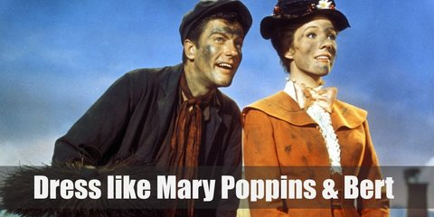 Mary Poppins wears a white button down shirt, a long blue Victorian styled coat, a matching blue skirt, white gloves, a red bow tie, black mary jane shoes with white socks, and a white flower decorated hat. Bert costume is a brown button down shirt, a black cardigan, black slacks, and a black hat.