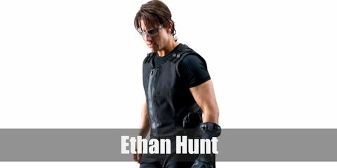 Ethan Hunt's costume is a black shirt, black vest, black pants, black boots, and clear protective glasses.