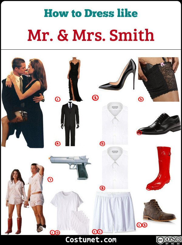 Mr And Mrs Smith Costume for Cosplay & Halloween