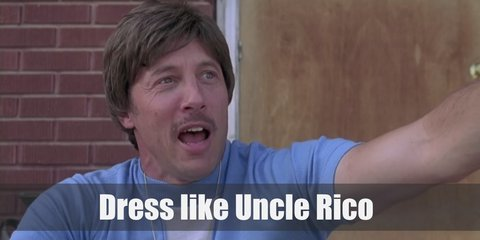Uncle Rico costume is wearing a light blue polo shirt, a blue vest, denim pants, brown shoes, and a white sweatband.
