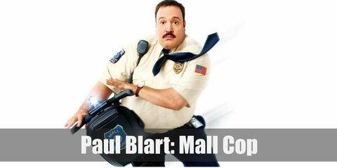 Paul Blart's costume is a white security polo with patches, a black tie, and black pants.