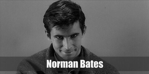 Norman Bates's costume is his mother's dress in the 1960 film and his proper attire in Bates Motel consisting of a collared blue shirt, a knitted blue sweater, and khaki pants.