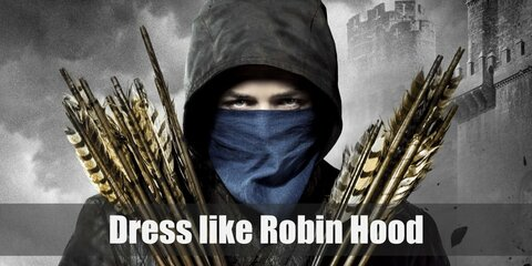 Robin Hood costume is made up of a quilted jacket, black pants, and boots. He also has a blue scarf or neckerchief and carries weapons such as bow and arrow or a spear.