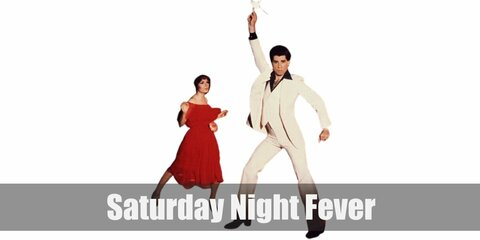 Saturday Night Fever's costume is a black dress shirt, white three-piece suit with bell-bottom pants, a gold chain, and black dress shoes.