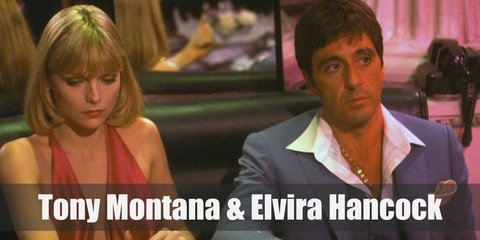 Tony Montana costume is a red button-down shirt with a few buttons loose, a white suit, and black pants. Elvira costume is most known for her sexy, blue, satin dress with a high slit, and killer heels.