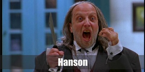 Keep up with Hanson's costume with a dark jacket and necktie. His signature look comes with a balding hairline and a small hands.