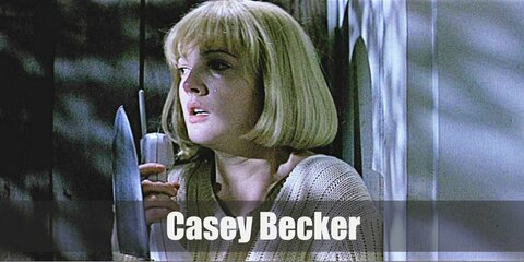 Casey Becker's costume is a white knit sweater, light washed jeans, and a blonde wig. She is also immortalized with holding a cordless phone with blood splattered on her chest.