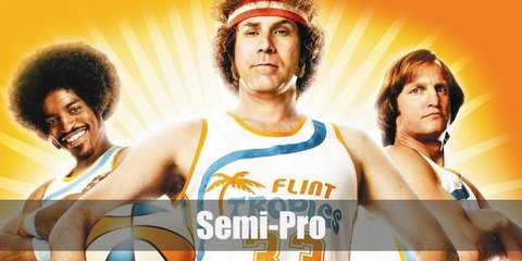 Jackie Moon wears a white jersey with Flint Tropics print and lining in orange and blue color. He also wears a shorts with colored lining. To complete the look, wear a pair of strped long socks, white shoes, sweatbands, and a curly wig.