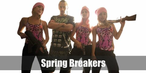 Spring Breakers' costume is a pink bikini, black joggers with DTF at the back, pink masks, and their own gun.