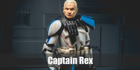 Captain Rex's costume is similar to stormtrooper unifrom. He wears the color blue all over his armor, has an antenna on his helmet, and a black faux skirt around his waist.
