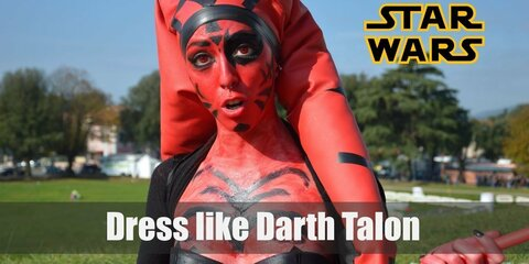 Cosplaying Darth Talon might be a little tricky. Here appearance is pretty unique. Although a Sith, she is actually a Twi'lek, a unique species characterized by so-called head-tails. Still, her skin is red and covered with common Sith tattoos.