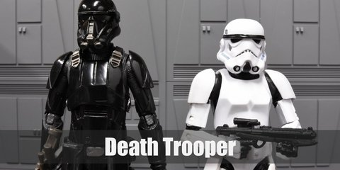 Death Trooper costume is a pair of black compression pants, black motorcycle armor, and a death trooper mask.