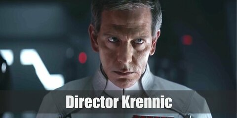 Director Krennic costume is a white button-down and matchinh cape. Then wear a black pair of pants with a gun holster on the waist.