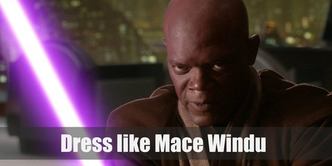 Mace Windu costume is a combination of beige, brown, and dark brown Jedi robes and wields a bright purple lightsaber.