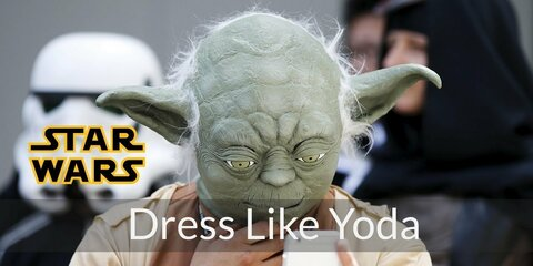 Yoda has a straightforward costume. While the mask and lightsaber are necessary, you can improvise with the Jedi outfit
