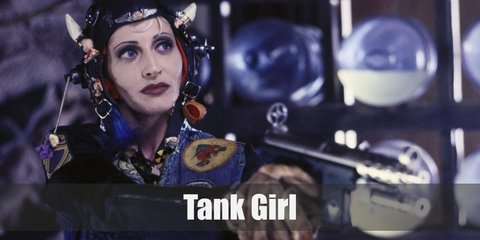 Tank Girl costume is having a preference for crop tops and bras. She also prefers looking like a cross between being a military-loving tomboy and being seductive.