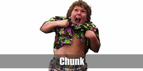 Chunk's costume is a black Hawaiian button-down shirt, a red jacket, and checkered pants. It's okay to tell a few exaggerations but be careful not to become the Chunk Who Cried Wolf.