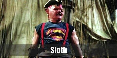 Sloth's costume is a Superman muscle tee, red suspenders, dark pants, and a pirate tricorn hat.  Sloth may look unapproachable but he is good-hearted and loyal to those who are kind to him.