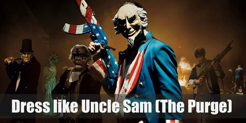 Uncle Sam is the main costume shown in Election Year's posters and it is downright creepy. A man wearing the blue, red, and white colors of USA is shown with a colored rifle in his hand.