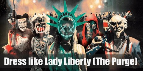During the Purge, a woman dressed up in the mint green Grecian dress of the Statue of Liberty and wore a neon-green mask before going on a killing spree.