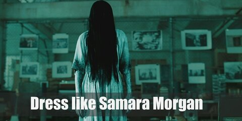 Samara's clothes are simple yet seeing her in it will give you the chills (and probably nightmares as well). Her long white nightgown portrays a look of innocence while her long black hair covering her face provides a spine-chilling vibe.