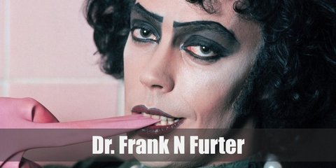 Dr. Frank-N-Furter wears a cropped corset, shorts, and garter belt. He also has fishnet stockings and heels. To complete his look, wear a curly wig, fingerless gloves, and pearl neklace. He also has dark eyeshadow and red lipstick.