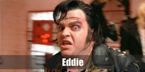 Eddie's costume can be recreated by wearing a black shirt and vest. Then pair it with distressed jeans and boots, too. Style the jeans with a black belt. Complete the costume by getting fake wounds and put in on your forehead.
