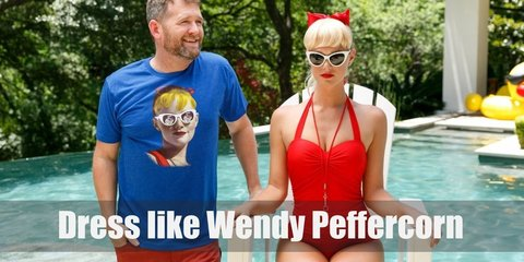 Wendy Peffercorn costume is red one-piece swimsuit, red painted nails, and red lips certainly make a statement, and also is a very cute and playful look as well.