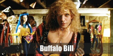 To rock Buffalo Bill's costume, get a bodysuit and a printed blanket or robe. The costume is simple and easy to recreate.