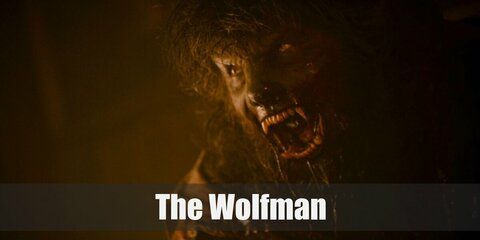The Wolfman's costume is a furry werewolf mask, werewolf claws, werewolf feet, a ratty white dress shirt, a grey vest, and ripped grey pants.