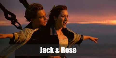 Jack Dawson's costume is a white tunic, brown pants, and white suspenders. Rose's costume is a cap sleeved dress underneath and oversized black blazer, and a life vest.
