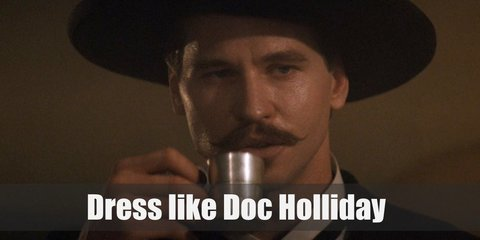 In Tombstone, Doc Holliday costume was wearing a white collared top, black pants, blue paisley vest, black blazer, and a red cravat. He also wears a black Gunslinger hat.
