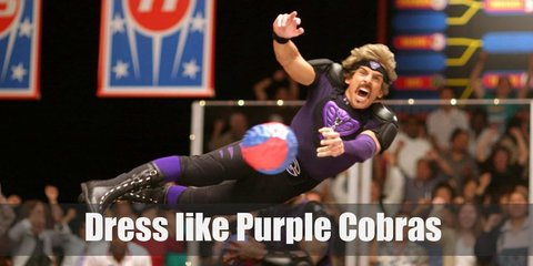 Globo Gym's dodgeball team name is Purple Cobras. They wear purple shirts, black compression shorts, and different black body armor.