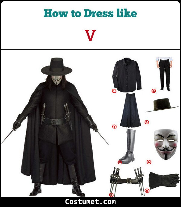 V from Vendetta Costume for Cosplay \u0026 Halloween 2019