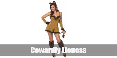 The Cowardly Lioness costume includes a brown mini dress decorated with boa feathers on the hems. THe costume also has fingerless gloves and brown furry leg warmers paired with black heels. To compelte the look,  wear  lion ear headband and a costume tail.