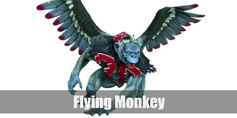The Flying Monkey costume is composed of furry or fleece top with monster arms and fuzzy legs in grey. Top the fleece with a cut out of a blue shirt formed into a tight vest with red felt as decoration. Complete the costume with wings, a sailor hat, and a blue monkey mask.