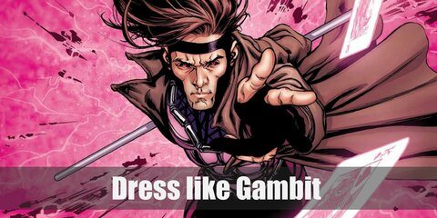 Gambit wears black tights, a pink and black long-sleeved top, silver boots, and an awesome brown coat.