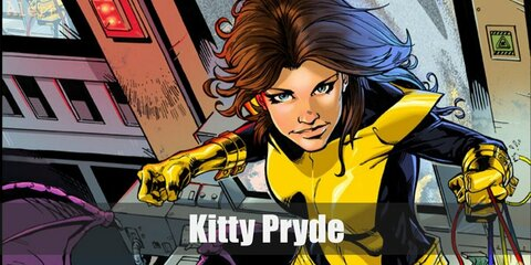 Kitty Pryde's costume is a long-sleeve full bodysuit, yellow gloves, and yellow knee-high boots. Don't forget to use yellow fabric paint to create the suit's details.