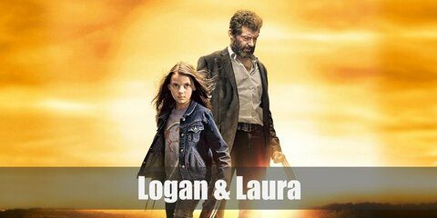 Logan's costume is a white tank top, a light blue button-down shirt, and denim pants. Laura's costume is a grey t-shirt, a denim jacket, light washed denim jeans, and sunglasses.