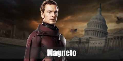 Magneto's costume is an upgraded homage to his classic one. Rock red leather armor, purple and black pieces, and a billowing maroon cape while modeling Magneto's iconic red helmet.