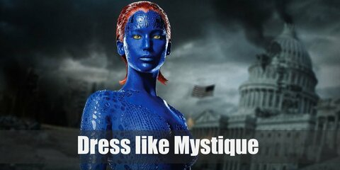 Mystique has an iconic look of blue skin, red hair, and yellow eyes. She wears a white side slit dress with no sleeves, white gloves, white thigh high boots, and a skeleton belt.