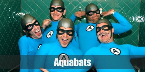 Aquabats members wear a blue long-sleeved top with a letter A on the center. They also have a grey swim cap and goggle. For their costume, they wear a grey waist belt, black shorts, white socks, and black sneakers..